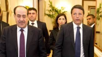 Missione in Iraq di Renzi, qui con il premier uscente Al Maliki (Ansa)