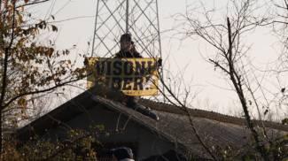 """Blitz sul tetto dell'allevamento: """"Visoni liberi. A partire da adesso"""""""