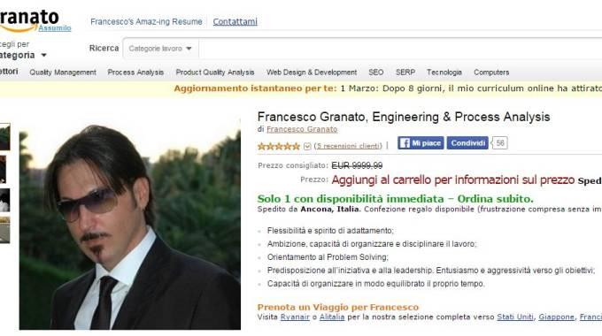 Il curriculum con grafica Amazon di Francesco Granato