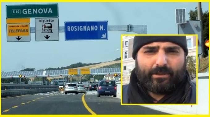 Il casello di Rosignano e, nel riquadro, il collaboratore di giustizia Gennaro Ciliberto