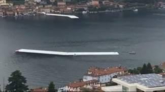 'The Floating Piers' di Christo, ecco l'aggancio del ponte con Sulzano/ VIDEO