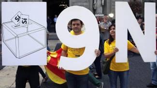 Catalogna, manifestazione a favore del referendum sull'indipendenza (Ansa)
