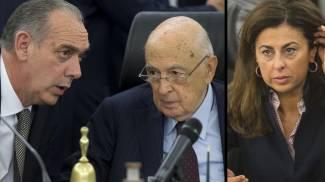 Combo: Legnini con Napolitano. A destra Teresa Bene