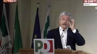 Massimo D'Alema alla direzione Pd (Ansa)