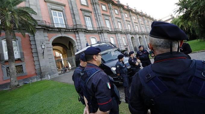 Forze di sicurezza intorno alla Reggia di Capodimonte per il vertice Bce (Ansa)