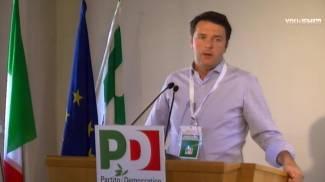 Un fermo immagine da Youdem, sull'intervento del premier Renzi (Ansa)