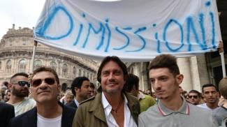 Cristiano De André e Francesco Baccini 'capipopolo' a Genova (Ansa)