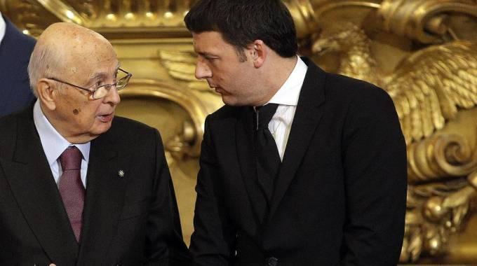 Il Capo dello Stato Giorgio Napolitano e il premier Matteo Renzi (Ansa)