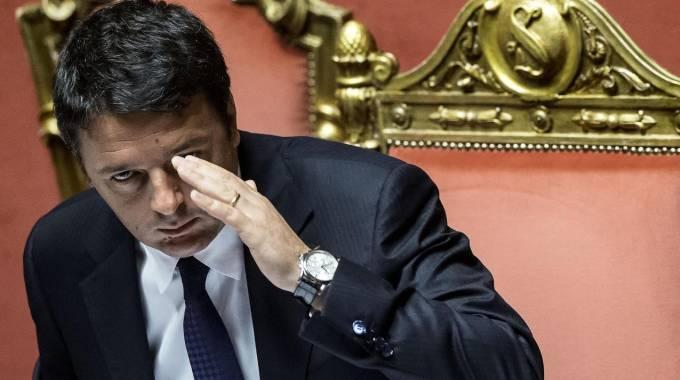 Il presidente del consiglio Matteo Renzi in Senato (Ansa)