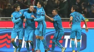 L'esultanza dei giocatori dell'Inter (Ansa)