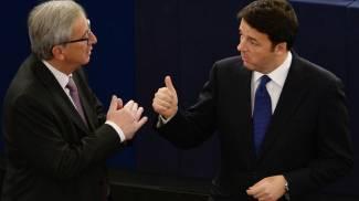 Jean-Claude Juncker e Matteo Renzi (Ansa)